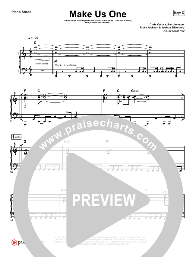 Make Us One Piano Sheet (Jesus Culture / Chris Quilala)