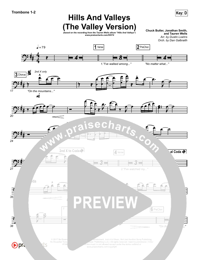 Hills And Valleys (The Valleys Version) Brass Pack (Tauren Wells)