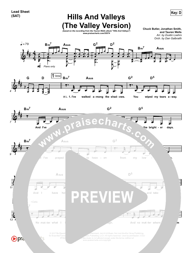 Hills And Valleys (The Valleys Version) Lead Sheet (SAT) (Tauren Wells)