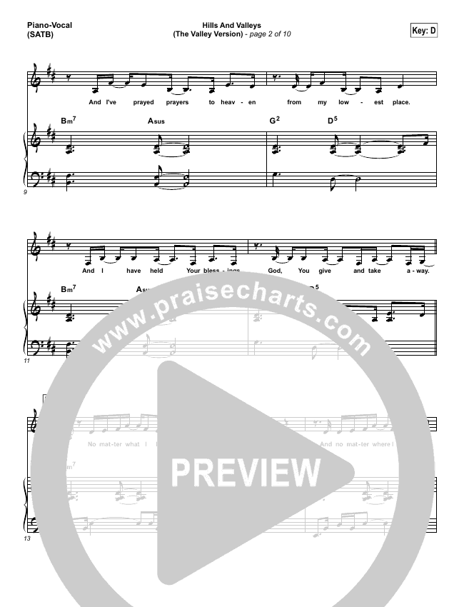 Hills And Valleys (The Valleys Version) Piano/Vocal (SATB) (Tauren Wells)