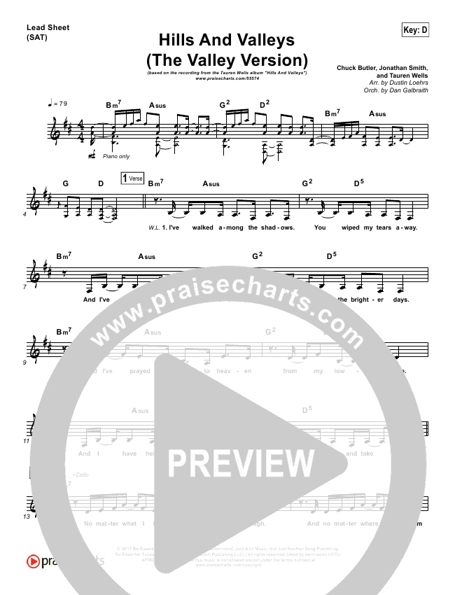 Hills And Valleys (The Valleys Version) Orchestration & Finale (Tauren Wells)