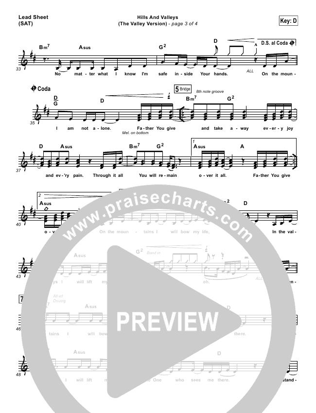 Hills And Valleys (The Valleys Version) Piano/Vocal Pack (Tauren Wells)