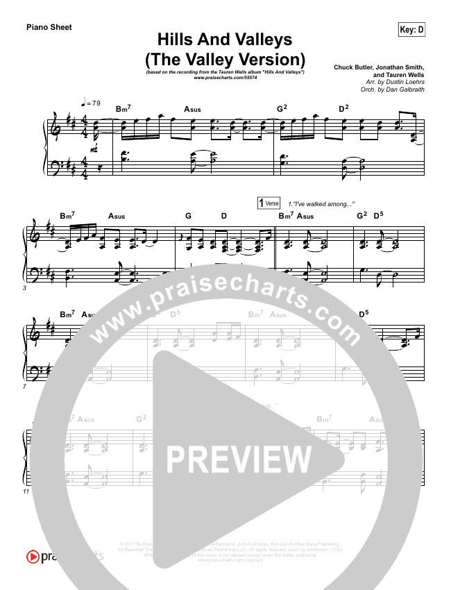 Hills And Valleys (The Valleys Version) Piano Sheet (Tauren Wells)