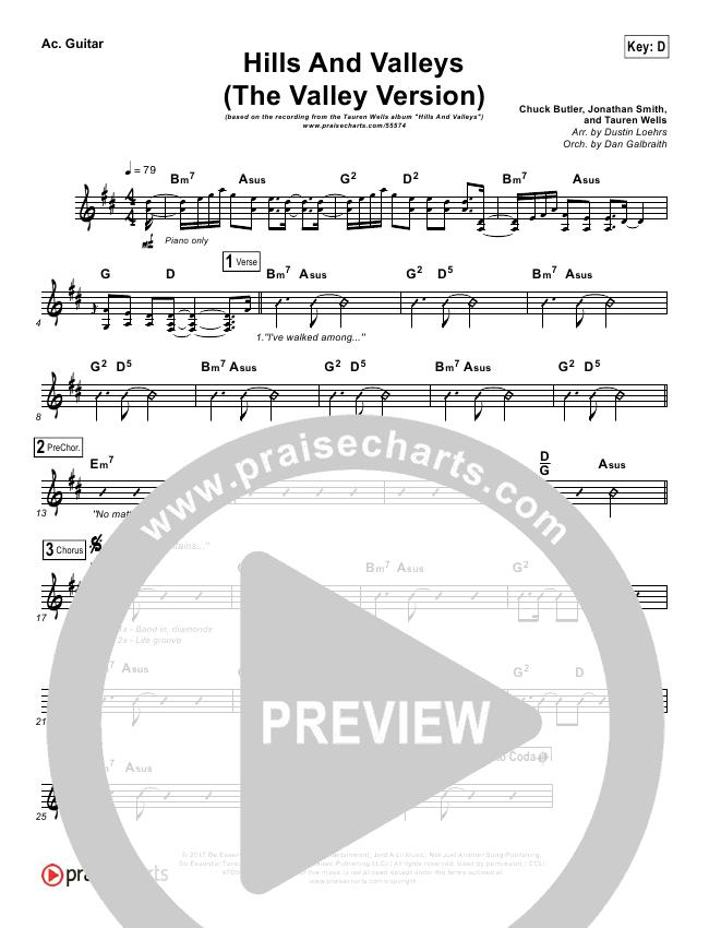 Hills And Valleys (The Valleys Version) Rhythm Chart (Tauren Wells)