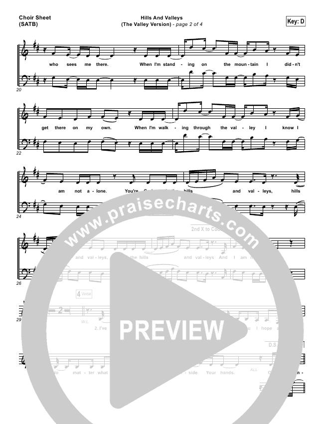 Hills And Valleys (The Valleys Version) Choir Sheet (SATB) (Tauren Wells)