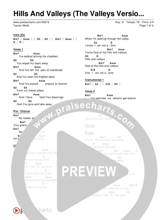 Hills And Valleys (The Valleys Version) Chords & Lyrics (Tauren Wells)
