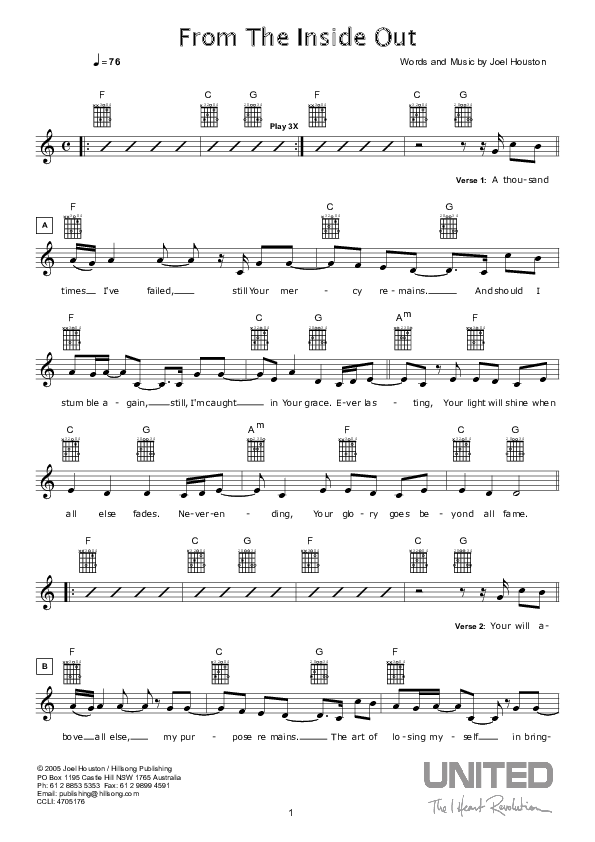 From The Inside Out Lead Sheet (Hillsong Worship)