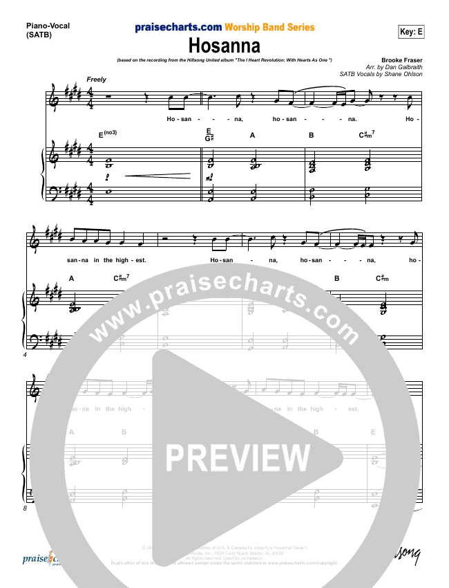 Hosanna Piano/Vocal (SATB) (Hillsong Worship)