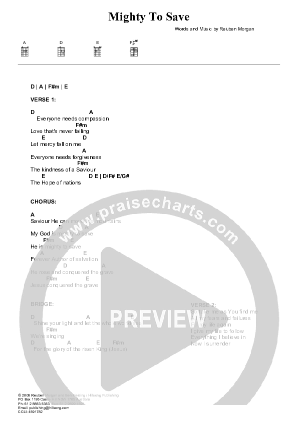 Mighty To Save Chord Chart (Hillsong Worship)