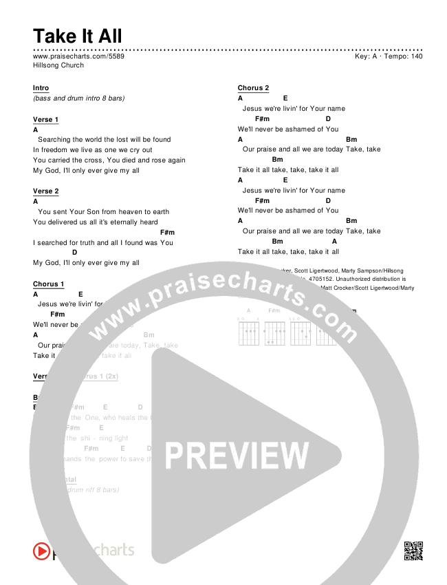Take It All Chords & Lyrics (Hillsong Worship)