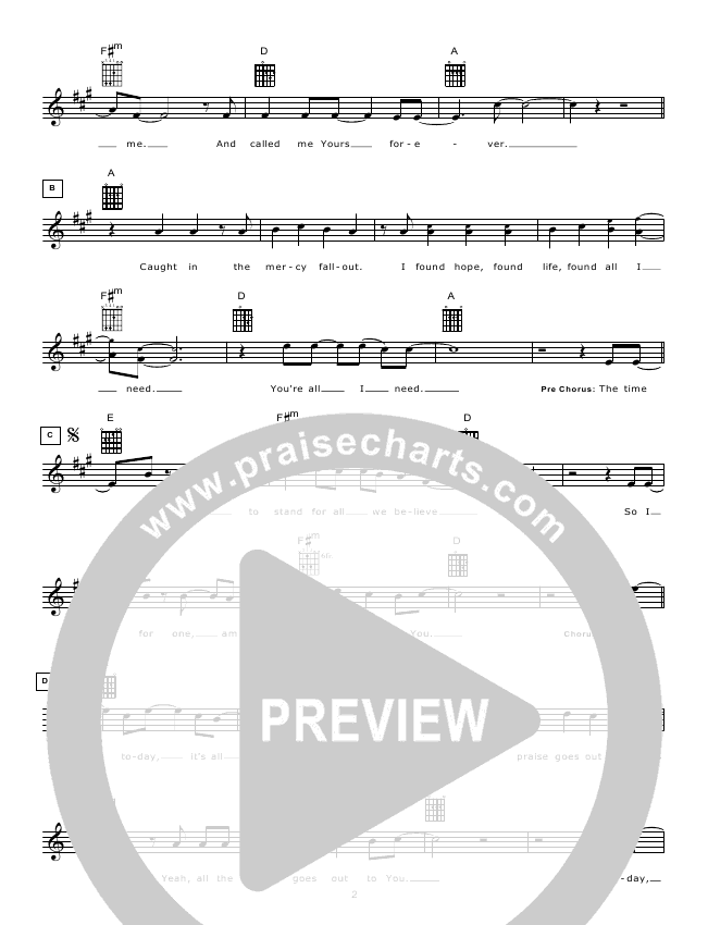 The Time Has Come Lead Sheet (Hillsong Worship)