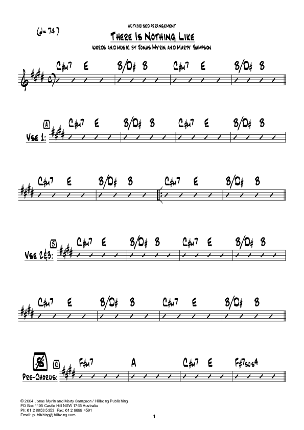 There Is Nothing Like (Instrumental) Chord Chart (Hillsong Worship)