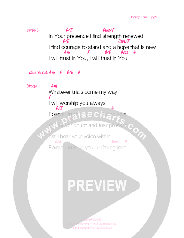 Through Christ Chord Chart (Generation Unleashed)