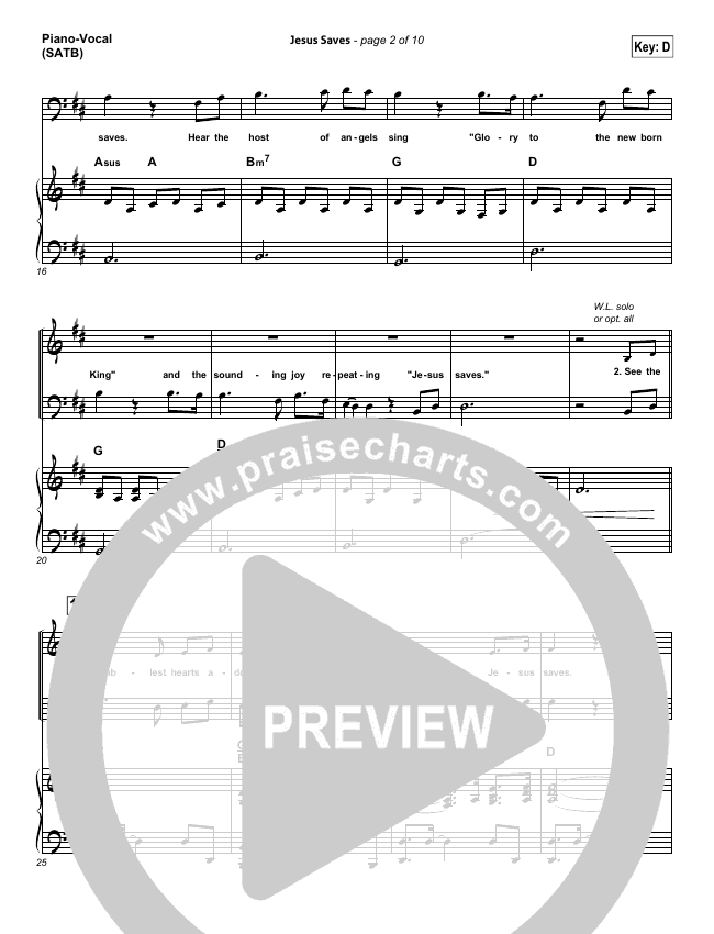Jesus Saves Piano/Vocal (SATB) (Travis Cottrell)
