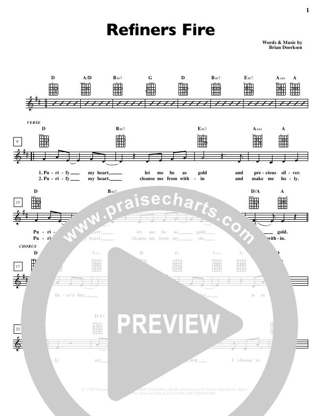 Refiners Fire Lead Sheet Brian Doerksen Praisecharts