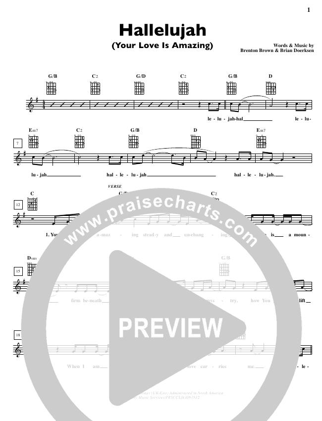 Hallelujah (Your Love Is Amazing) Lead Sheet (Brian Doerksen)