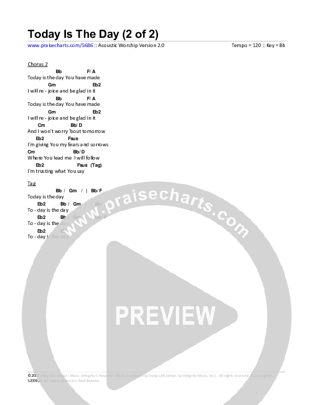 Today Is The Day Chord Chart (Toby Baxley)