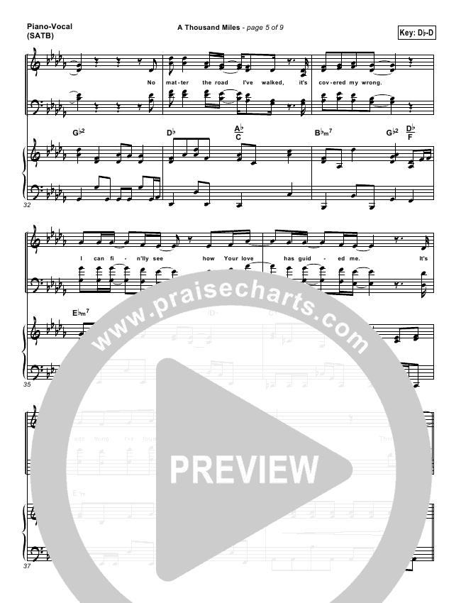 A Thousand Miles Lead Sheet Pianovocal Free Chapel Praisecharts