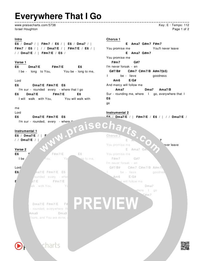 Everywhere That I Go Chords & Lyrics (Israel Houghton)