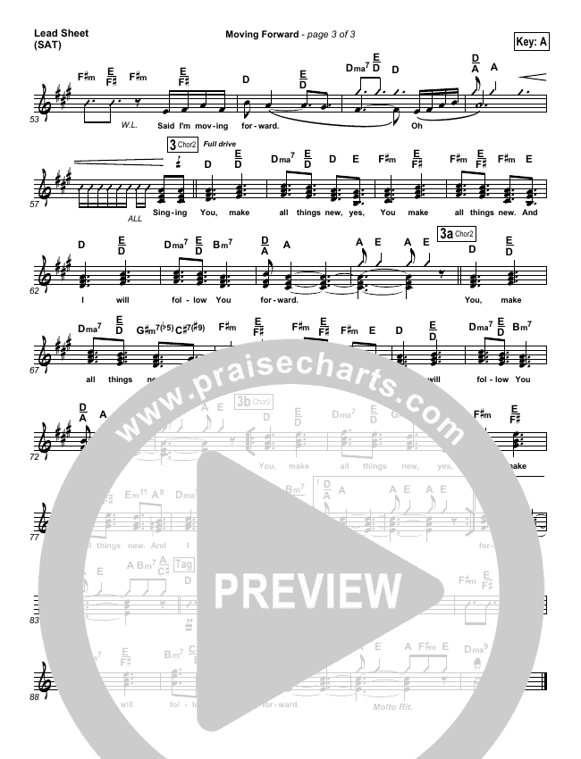 Moving Forward Lead Sheet (SAT) (Israel Houghton)