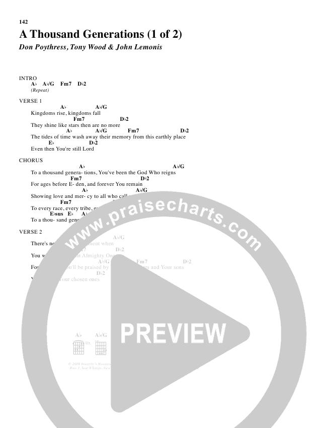 A Thousand Generations Chord Chart (Don Poythress)