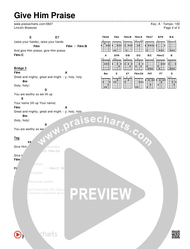 Give Him Praise Chords & Lyrics (Lincoln Brewster)