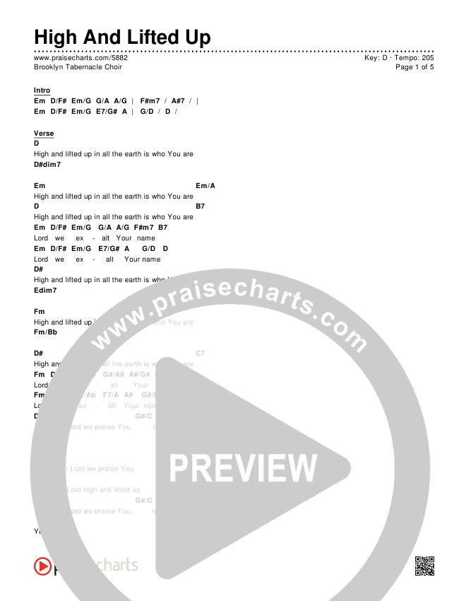 High And Lifted Up Chords - Brooklyn Tabernacle Choir | PraiseCharts