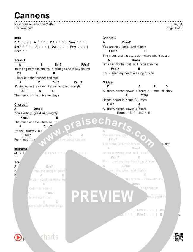Cannons Chords & Lyrics (Phil Wickham)