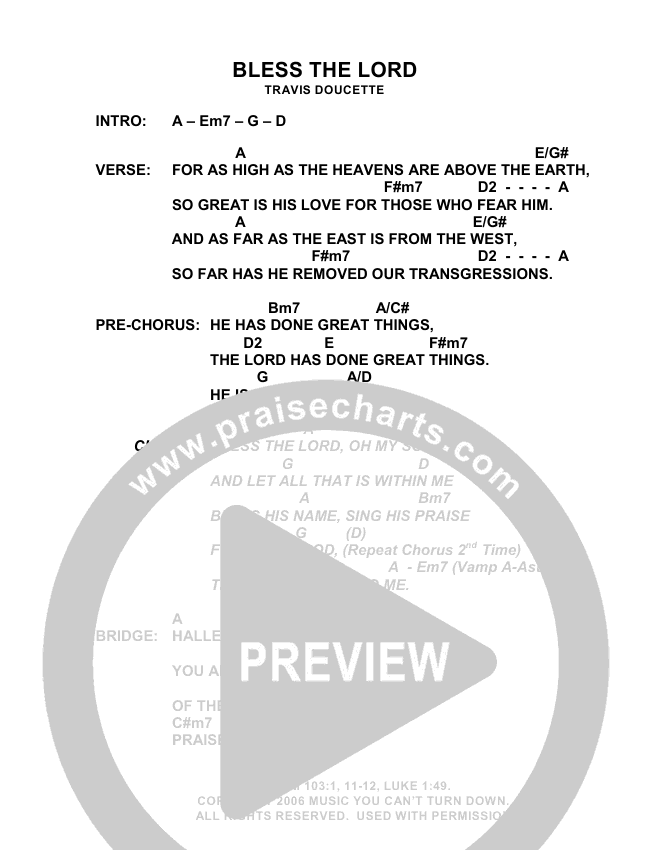 Bless The Lord Chords - Exodus | PraiseCharts