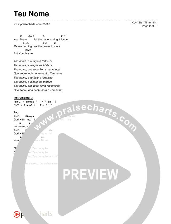 Teu Nome (Versão Natal) Chords & Lyrics ()