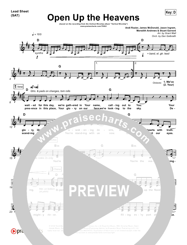 Open Up The Heavens Piano/Vocal Pack (Vertical Worship)