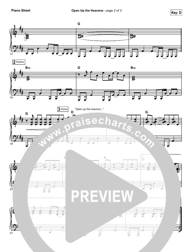 Open Up The Heavens Piano Sheet (Vertical Worship)