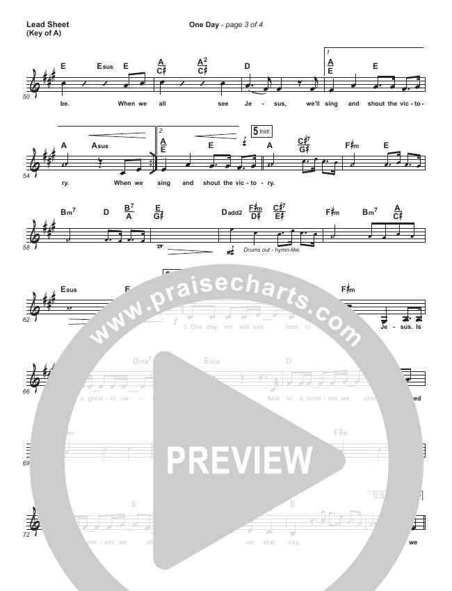 One Day (When We All Get To Heaven) Lead Sheet (Melody) (Matt Redman)