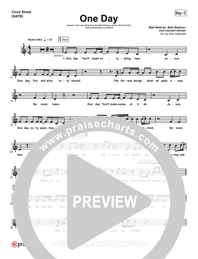 One Day (When We All Get To Heaven) Choir Sheet (SATB) (Matt Redman)