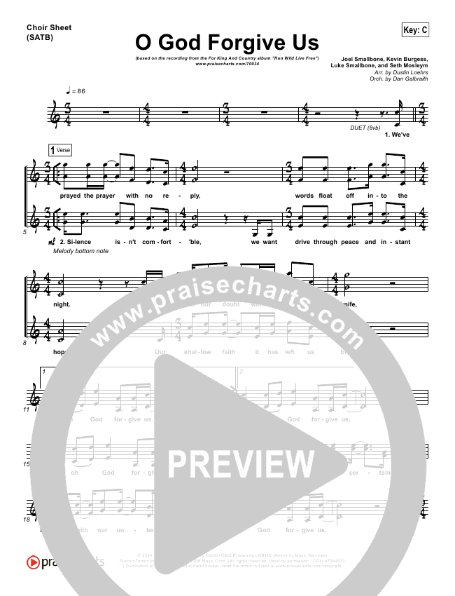 O God Forgive Us Choir Sheet (SATB) - For King & Country, KB