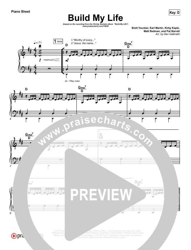 Build My Life Piano Sheet (Christy Nockels)