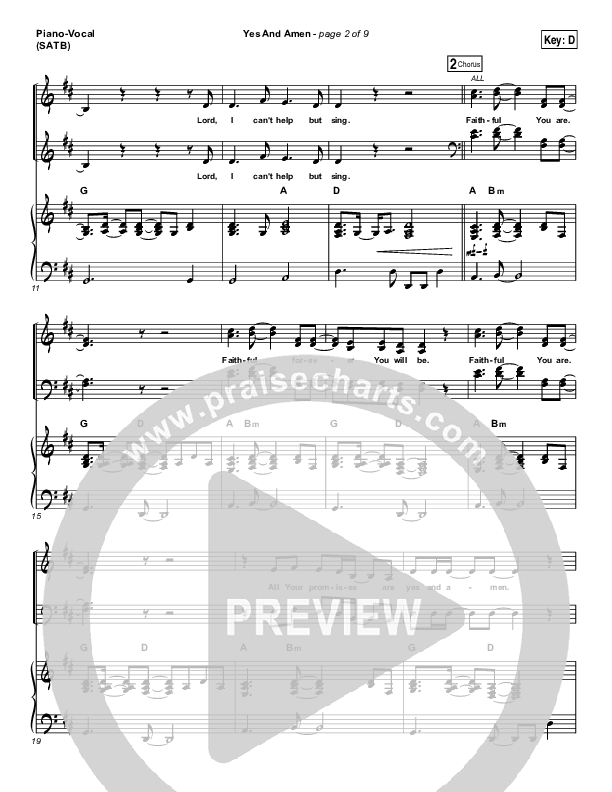 Yes And Amen Piano/Vocal (SATB) (Nate Moore / Housefires)