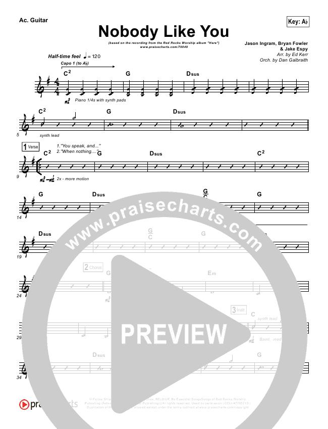 Nobody Like You Rhythm Chart (Red Rocks Worship)