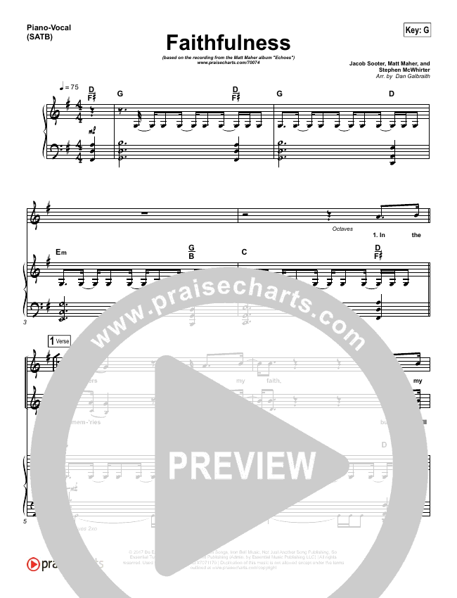 Faithfulness Piano/Vocal (SATB) (Matt Maher / Iron Bell Music)