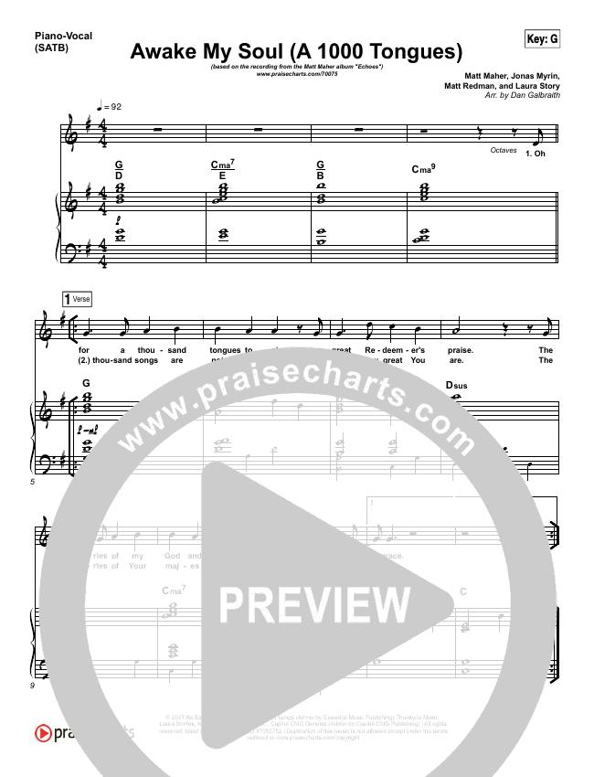 Awake My Soul (A Thousand Tongues) Piano/Vocal (SATB) (Matt Maher)