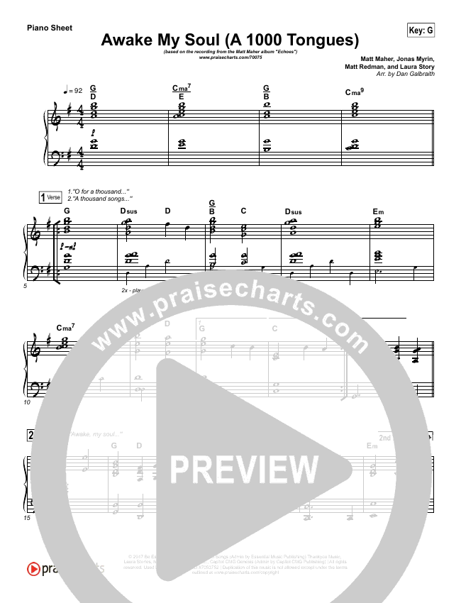 Awake My Soul (A Thousand Tongues) Piano Sheet (No Vocals