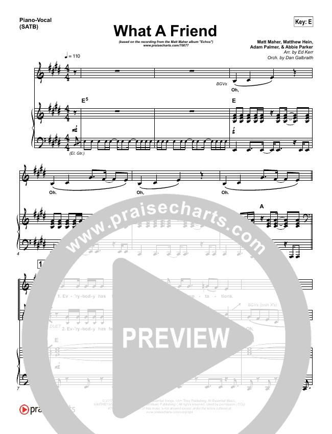 What A Friend Piano/Vocal (SATB) (Matt Maher)