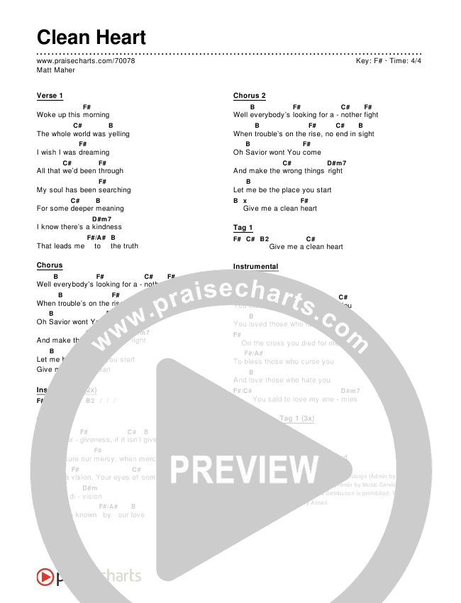 Clean Heart Chord Chart (Editable) - Matt Maher | PraiseCharts
