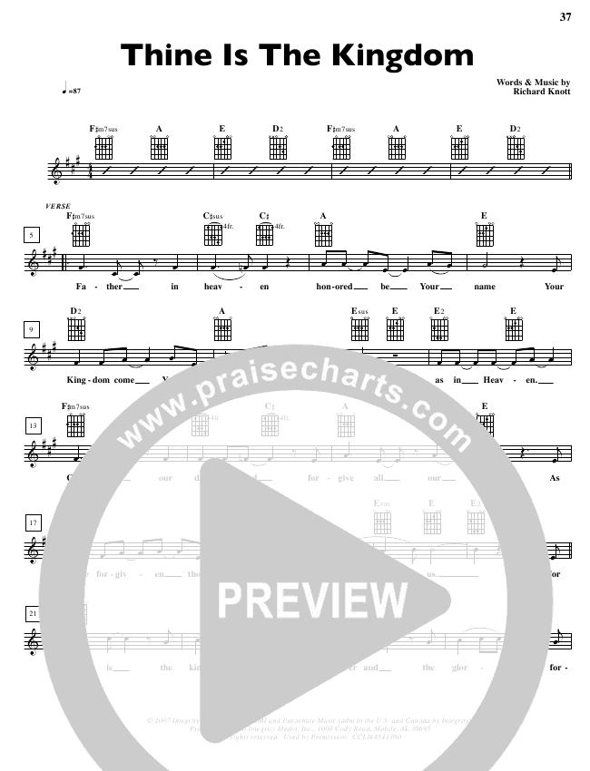 Thine Is The Kingdom Lead Sheet (Parachute Band)