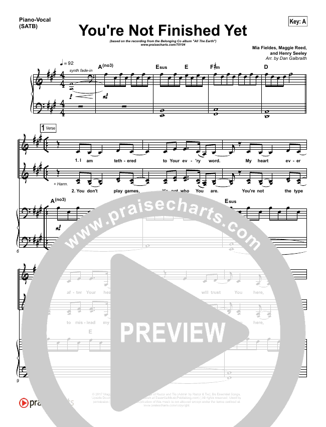 You're Not Finished Yet Piano/Vocal (SATB) (The Belonging Co / Maggie Reed)