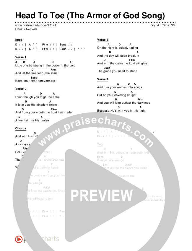 Head To Toe (The Armor Of God Song) Chord Chart (Editable