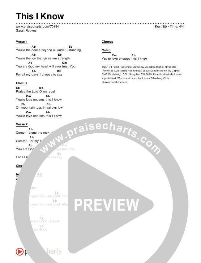 This I Know Chords & Lyrics (Sarah Reeves)