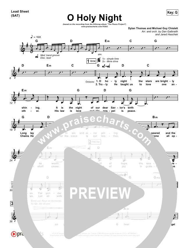 O Holy Night Orchestration Hillsong Worship Praisecharts
