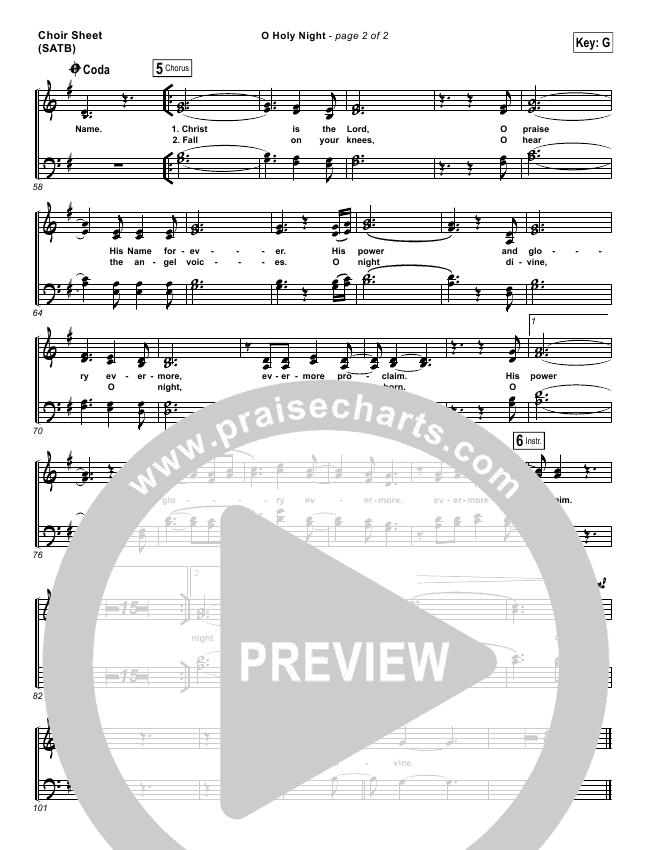 O Holy Night Choir Sheet Satb Hillsong Worship