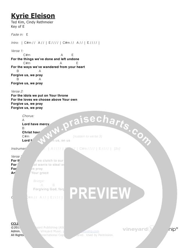 Kyrie Eleison Chords - Vineyard Worship | PraiseCharts